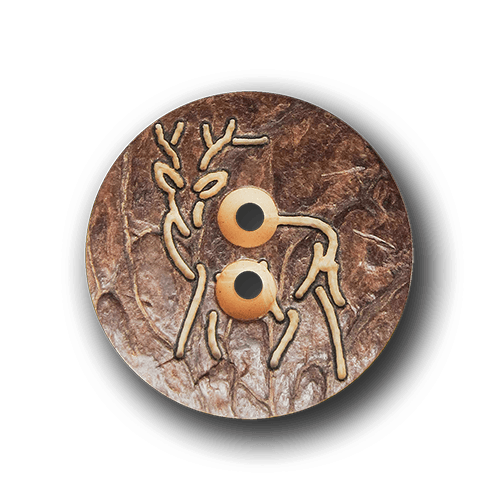 Zünftiger brauner Steinnuss Trachtenknopf mit Hirsch