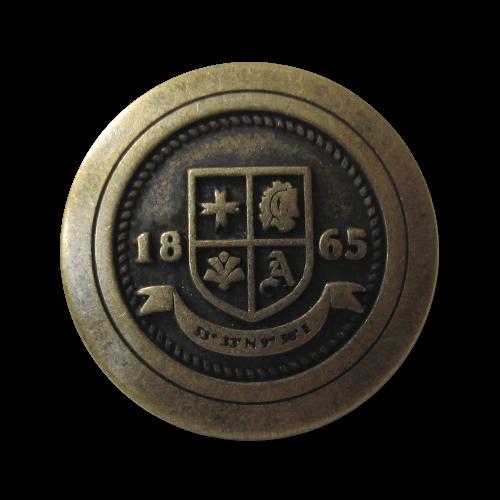 """Altmessingfarbener Blazer Knopf mit Wappen """"1865"""""""