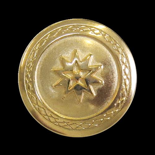 www.knopfparadies.de - 5926gg - Hübsche, gold glänzende Metallknöpfe mit Motiv: Stern