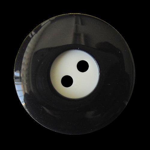 www.Knopfparadies.de - 4416sc - Edle schwarz weiße Zweiloch Kunststoffknöpfe