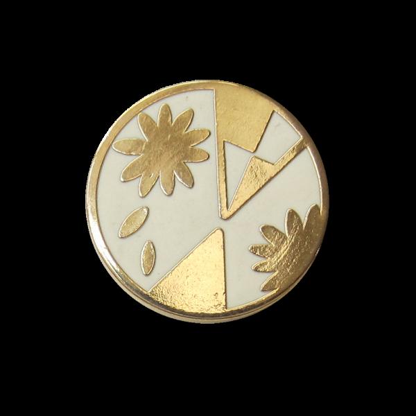 Metall Knopf mit graphischem Blumen Muster / B-WARE
