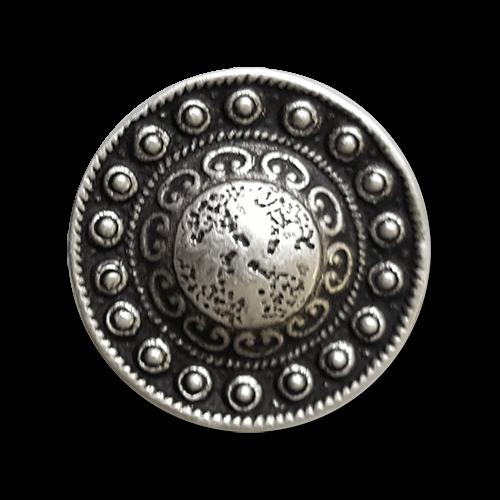 www.Knopfparadies.de - 5863as - Alt wirkende silberne Metallknöpfe nach historischem Vorbild