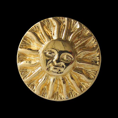 Sonnen Knopf aus Metall in glänzend Goldfarben mit Öse