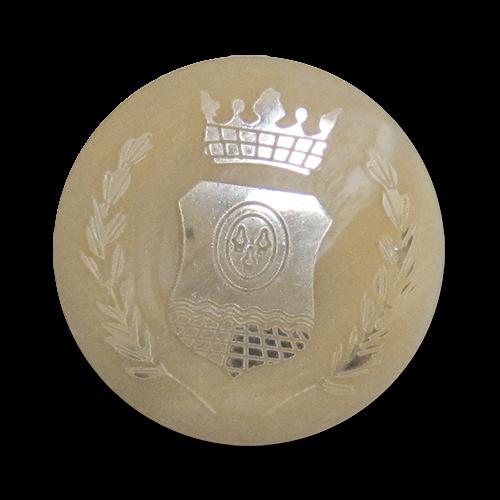 www.Knopfparadies.de - 3528be - Wappenknöpfe aus Kunststoff wie Hornknöpfe in Beige & Gold