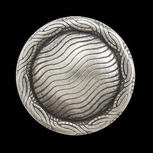 www.Knopfparadies.de - 3110as - Edle Metallknöpfe mit gewellten Linien in Altsilber & gekördeltem Rand