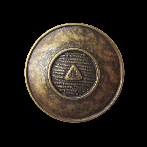 Messingfb. Metall Knopf wie aus Mittelalter o. Antike