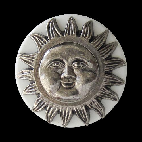 www.Knopfparadies.de - 1589ws - Edle weiß silberne Ösen Kunststoffknöpfe mit Sonne