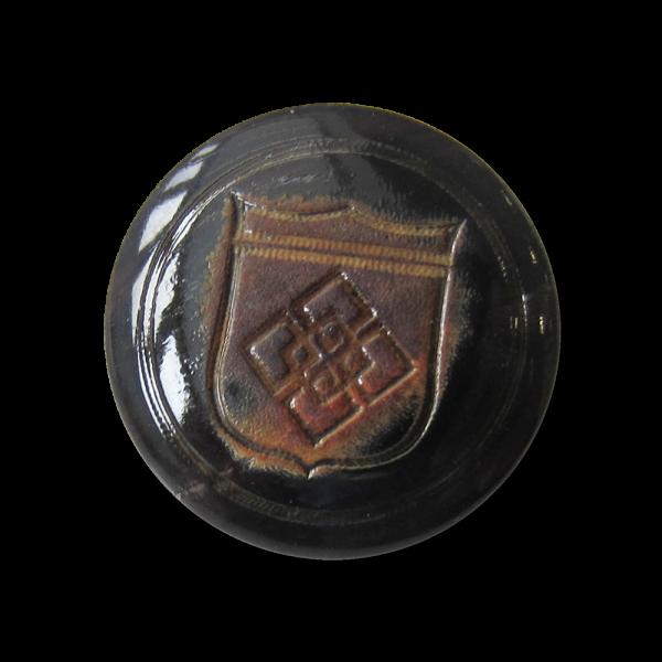 Edler schwarzbrauner Büffelhorn Knopf mit Wappen