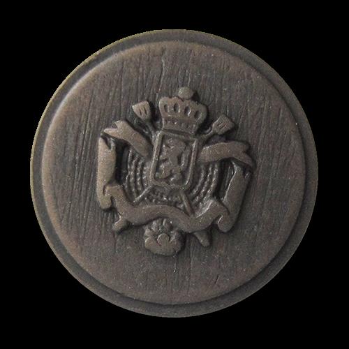 www.Knopfparadies.de - 4114db - Schlichte bronzefarbene Wappenknöpfe aus Metall