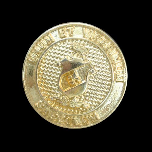 Goldfb. Metallknopf mit Wappen, Lilie und Inschrift