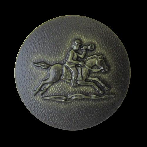 www.Knopfparadies.de - 0893gr - Dunkelgrüne Motivknöpfe mit Reiter & Pferd wie Lederknöpfe