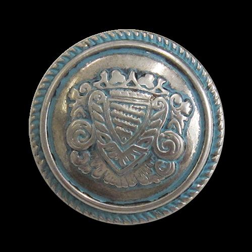 www.knopfparadies.de - 5977st - Silver- und türkisfarbene Blazerknöpfe aus Metall