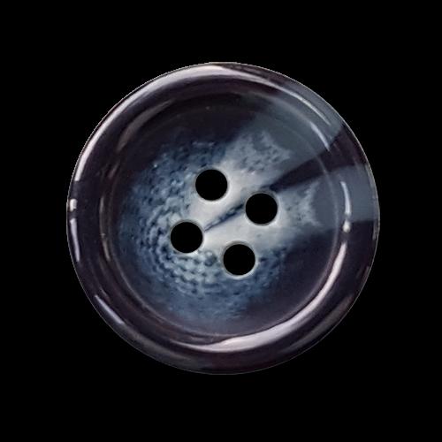 Blau-schwarz-grau melierter Basic Knopf