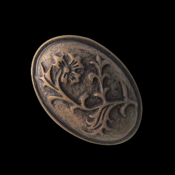 Edler ovaler Metall Ösen Knopf mit floralem Muster