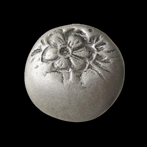 Altsilberfarbene Metall Ösen Knöpfe mit Blumen Motiv