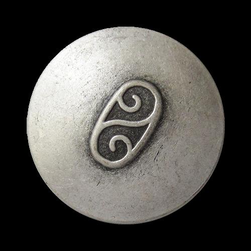 www.Knopfparadies.de - 0790as - Älter wirkende altsilberfarbene Metallknöpfe mit Doppel Spirale