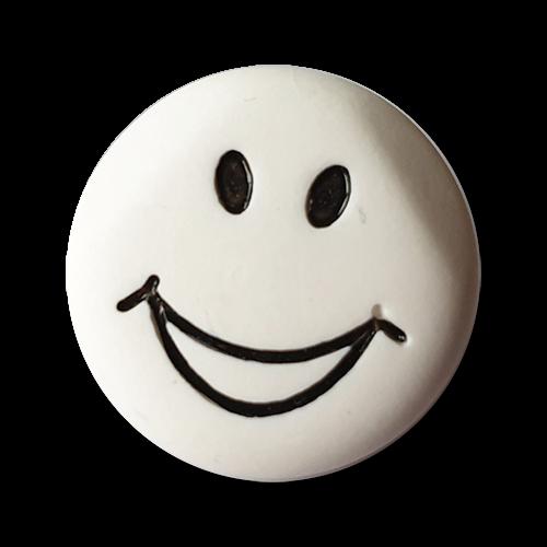 www.knopfparadies.de - k107sw - Lustige schwarz-weiße Kunststoffknöpfe mir Öse und Smiley Motiv
