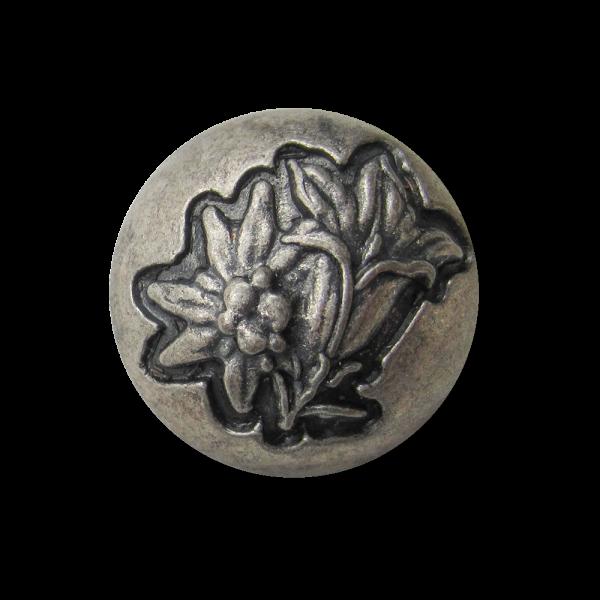 Großer altsilberfb. Metall Knopf mit Enzian & Edelweiß
