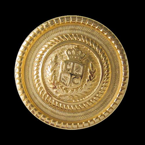 www.Knopfparadies.de - 4016go - Majestätische goldene Wappenknöpfe aus Metall