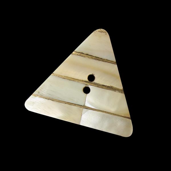 Großer Holz Knopf wie Dreieck mit Perlmutt Einlagen