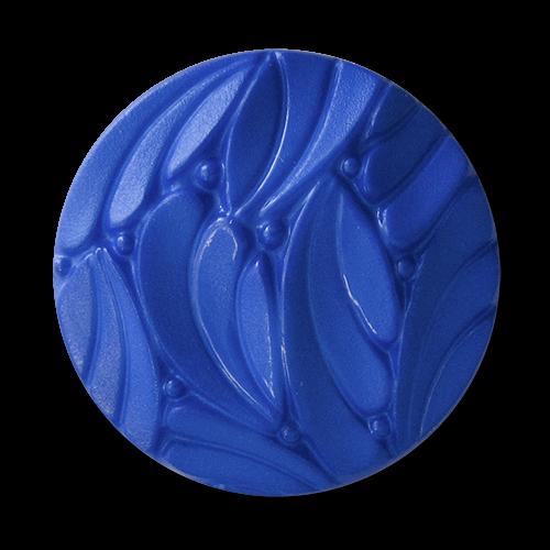 www.knopfparadies.de - 1015bl - Kobaltblaue Kunststoffknöpfe mit ausgefallenem, plastischen Muster
