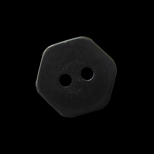 Kleiner 6-eckiger schwarz glänzender Zweiloch Knopf
