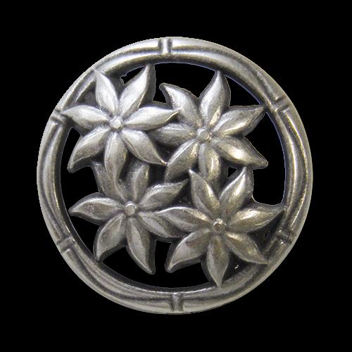 www.Knopfparadies.de - 3471as - Romantische Metallknöpfe mit Blumenmotiv in Altsilber