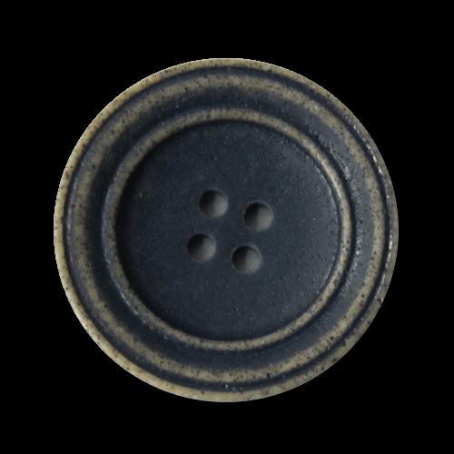 Tellerförmiger blau hellbrauner Kunststoff Knopf
