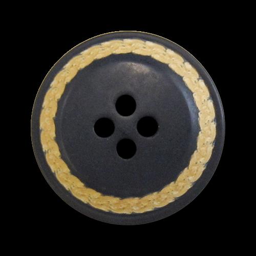 www.knopfparadies.de - 5094bl - Dunkelblaue Kunststoffknöpfe mit abgesetztem, beigen Rand