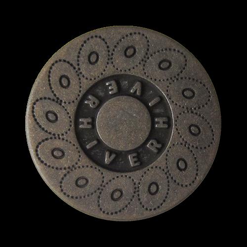 www.Knopfparadies.de - 0560dm - Dunkel altmessingfarbene Metallknöpfe mit Kreismuster und Schriftzug