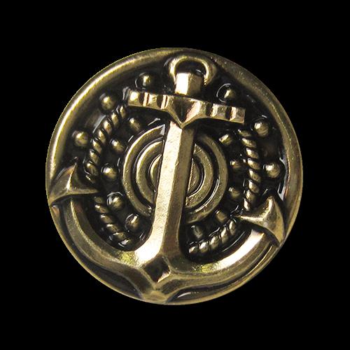 www.Knopfparadies.de - 5876ag - Prunkvolle altgoldene Metallknöpfe mit Anker Motiv