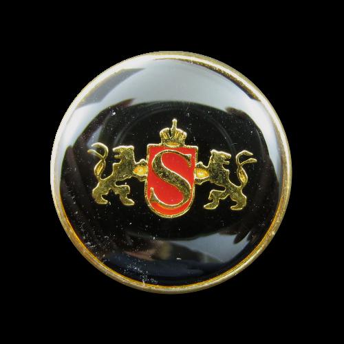Schwarz rot goldfarbener Wappen Metall Knopf mit Löwen
