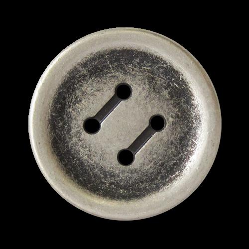 www.knopfparadies.de - 5757as - Altsilberfarbene Metallknöpfe mit vier Löchern