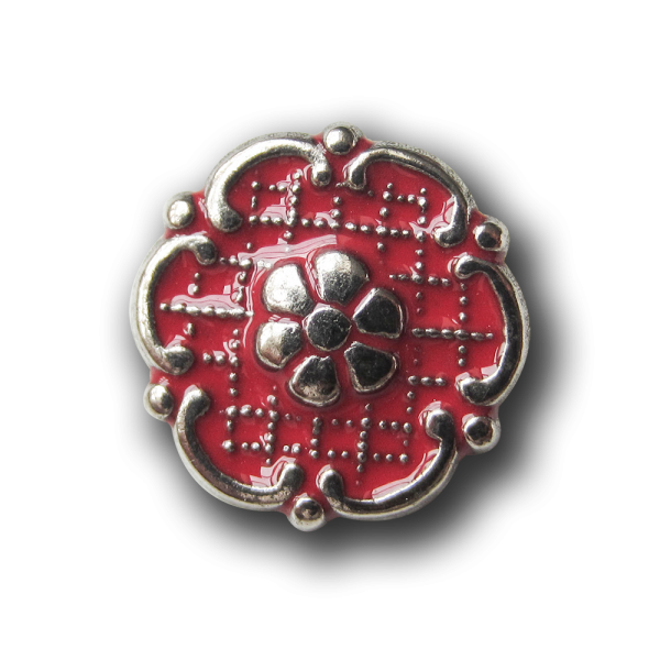 Rot-silberfarbene Metallknöpfe