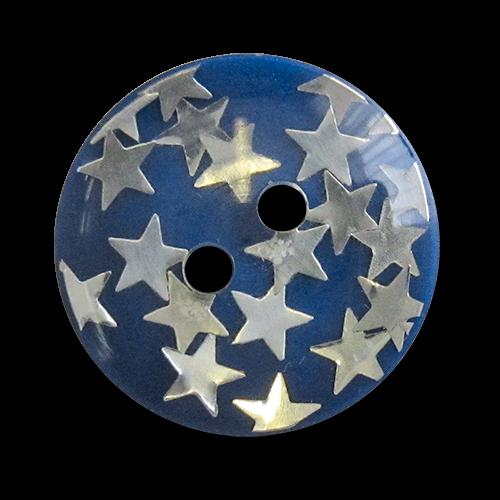 www.knopfparadies.de - 2025bl - Blaue Kunststoffknöpfe mit silberfarbenen Sternen
