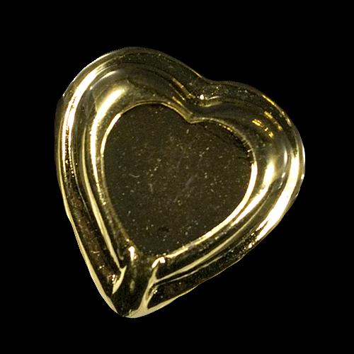 Großer goldfarb. Herz Knopf in Metall Optik / B-WARE