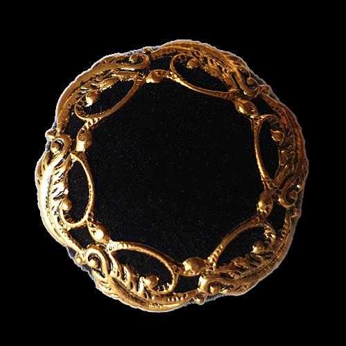 Edle schwarz goldene festliche Knöpfe aus Samt mit Metallrahmen