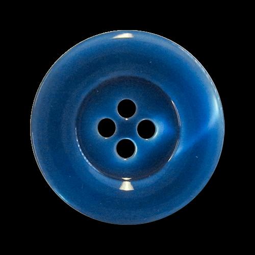 www.knopfparadies.de - 3483bl - Blau schimmernde Kunststoffknöpfe mit vier Löchern