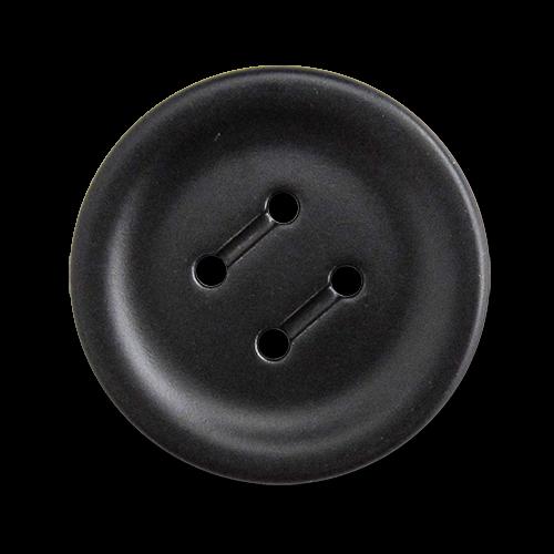 www.knopfparadies.de - 5757sc - Matt schwarze Metallknöpfe mit vier Löchern