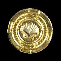 Goldfarbener maritimer Metall Knopf mit Muschel