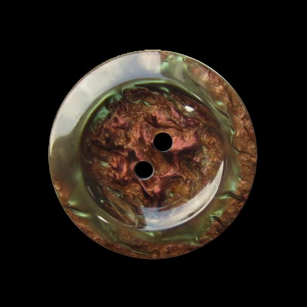 Wunderschöner braun grüner Knopf mit Perlmutt Schimmer