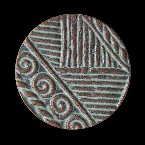 Kupfer Grüne Patina gemusterte ösenknöpfe aus metall in altkupfer grüner patina optik