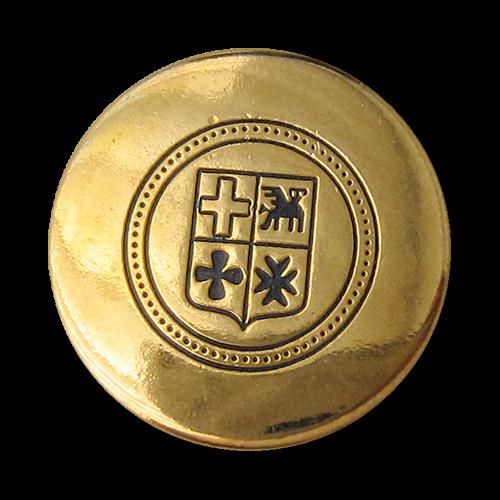 www.Knopfparadies.de - 4400bg - Schlichte blau goldene Wappenknöpfe aus Metall / B-WARE