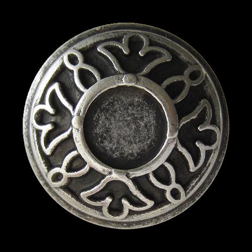 www.Knopfparadies.de - 2631as - Bildschöne Metallknöpfe in Silber mit Blumen Muster
