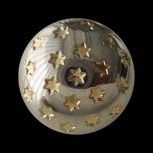 www.Knopfparadies.de - 1451bi - Süße Sternknöpfe in Gold & Silber