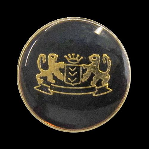 www.Knopfparadies.de - 0911gs - Elegante Motivknöpfe mit Wappen in Schwarz & Gold / B-WARE