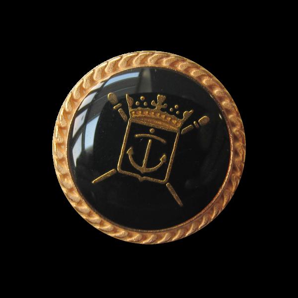 Günstiger schwarz-goldfb. Wappen Metall Knopf / B-WARE