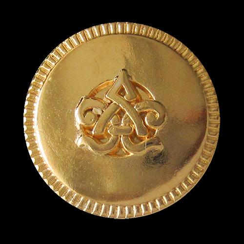 www.Knopfparadies.de - 3563gg - Beeindruckende gold glänzende Metallknöpfe mit Symbol