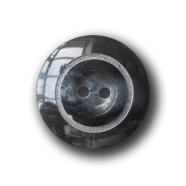 Dezent dunkelblau melierter Zweiloch Kunststoff Knopf