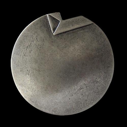 www.Knopfparadies.de - 1649as - Altsilberne Metallknöpfe mit Knick in der Optik